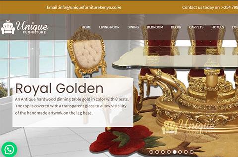 unique furniture ecommerce web design website display